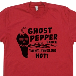 Ghost Pepper T Shirt Hot Sauce Tee Taint Tingling Hot Funny Vintage Shirts