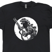 Godzilla Guitar T Shirt Dinosaur Playing Guitar Tee Shirt Japan Retro Rock T Shirt