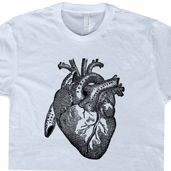 Heart T Shirt Medical Heart Diagram Tee Shirts Vintage Science Illustration