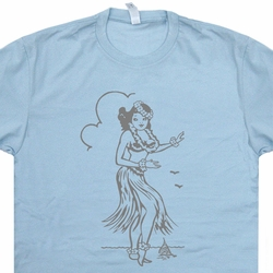 Hula Girl T Shirt Hawaii Tee Tiki Bar Vintage Surfing Sailboat US Navy Tees