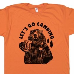 Lets Go Camping T Shirts Hiking Beer Bear Roasting Marshmellows Tee