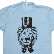 Lion Top Hat T Shirt Funny Vintage Graphic T Shirts Retro Abraham Lincoln