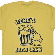Milwaukee Brewers Vintage T Shirts Here's to The Brew Crew T Funny Baseball Tees