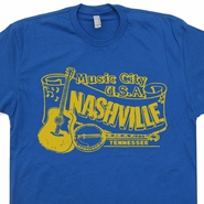 Nashville T Shirt Vintage Bluegrass Banjo Shirts Classic Country Rock Tees