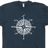 Nautical Compass T Shirt Sailboat T Shirts Vintage US Navy Marines Sailing Tee