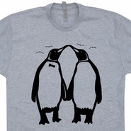 Penguins Kissing Love T Shirts Funny Vintage Shirts Mens / Womens Tees