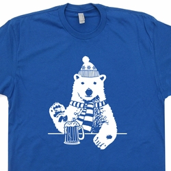 Polar Bear Drinking Beer T Shirt Vintage Skiing T Shirt Funny Vintage T Shirts