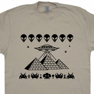 Pyramids UFO T Shirt Aliens Head Logo Space Invaders Vintage T Shirt