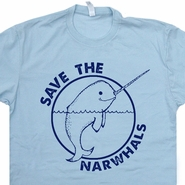 Save The Narwhals T Shirt Funny Vintage Whales Shirts Unicorn Tees