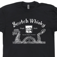 Scotch Whisky T Shirt Loch Ness Monster Tee Scotland Lion T Shirt