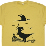 T Rex Hates Pterodactyl T Shirt Yellow Dinosaur Tee Vintage Funny T Shirts