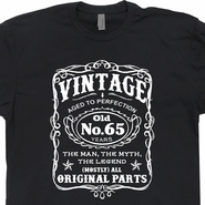 Vintage 65th Birthday T Shirts Funny 65th Birthday T Shirts Jack Daniels Shirt