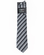 Black & Gray Simple Stripe Tie & Hanky Set