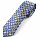 Blue & Gold Pattern Slim Tie #303