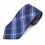 Blue Plaid Christmas Bell Tie