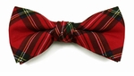 Boy's Red Christmas Plaid Band Bowtie