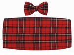Boy's Red Christmas Plaid Cummerbund & Bowtie Set