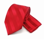 Boy's Tone on Tone Stripe Tie & Hanky Set #401 - Fire Red