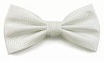 Boy's White Woven Like Band Bow Tie