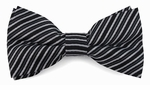 Boys Black & White Mini Stripe Band Bow Tie