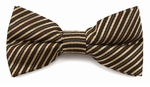 Boys Brown, Tan & Red Stripe Band Bow Tie