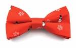 Boys Frosty & Snowflakes Band Bow Tie / Red