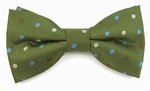 Boys Olive with Blue & Cream Dots Band Bow Tie