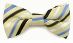 Boys Pale Yellow with Blue, Black & White Stripe Band Bow Tie