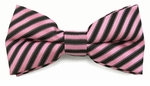 Boys Pink & Black Even Stripe Band Bow Tie