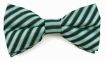 Boys Turquoise & Black Stripe Band Bow Tie