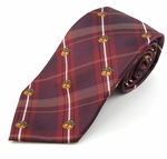 Burgundy Plaid & Christmas Bells Tie