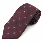Burgundy Reindeer Woven Diamond Christmas Tie
