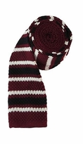 Burgundy Stripe Square Bottom Knit Tie