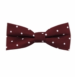 Burgundy & White Urban Dotted Bow Tie (Men's & Boy's Styles Available)