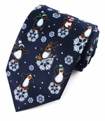 Christmas Dancing Penguins & Snowflake Ties / Navy