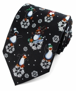Christmas Dancing Penguins & Snowflakes Ties / Black