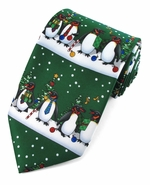Christmas Penguin Line up Ties / Green