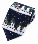 Christmas Penguin Line up Ties  / Navy