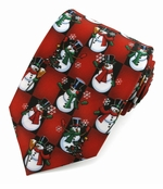 Christmas Snowman Squares Ties / Red