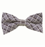 Classic Gray Plaid Bow Tie (Men's & Boys Styles)