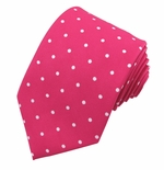 Fuschia & White Urban Dotted Tie (Sizes Available for Men & Boys)