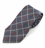Gray Reindeer Woven Diamond Christmas Tie