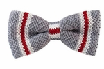 Gray with White & Red Knit Stripe Band Bow Tie