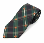 Green Plaid Christmas Bell Tie