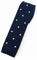 Navy Polka Dot Square Bottom Knit Ties (Sizes for Men & Boys)