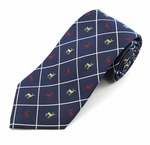 Navy Reindeer Woven Diamond Christmas Tie