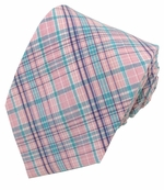 Pink & Turquoise Uptown Cotton Plaid Tie (Various Sizes for Men & Boys)