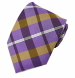 Purple & Brown Newburg Plaid Pattern Tie