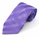 Purple Solid Color Tonal Stripe Ties (Various Sizes Available for Men & Boys)