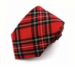 Red Christmas Plaid Ties (Various Sizes Available for Men & Boys)